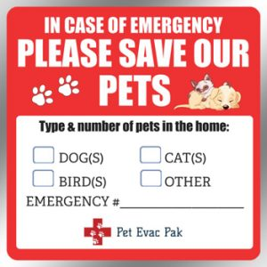 Save Our Pets Emergency Window Decal